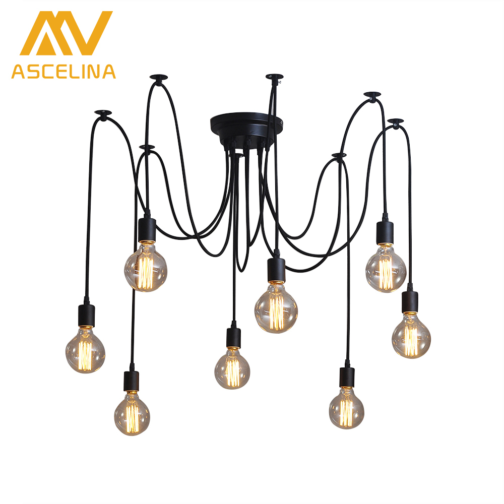 ASCELINA Retro Loft Black Spider Pendant Lights Adjustable Vintage Pendant Lamps Industrial Ceiling Lamps Edison Light Bulb diy vintage lamps antique art spider pendant lights modern retro e27 edison bulb 2 meters line home lighting suspension