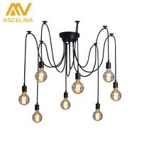 Retro Loft Black Spider Pendant Lights Adjustable Vintage Pendant Lamps Industrial Ceiling Lamps Luminaria Edison Light