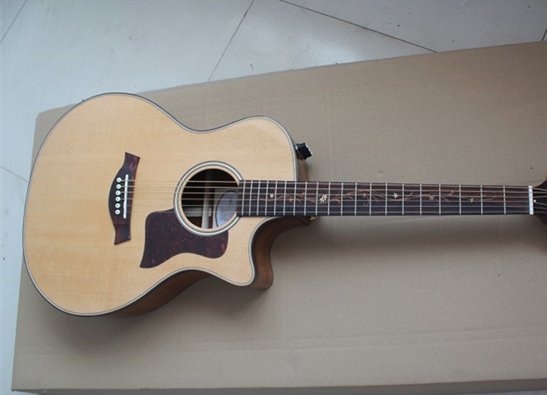 Usine personnalisé boutique 41 ''coupe naturelle acoustique guitare électrique intégré pick-up solide Spurce Top Koa dos et côté