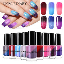 NICOLE DIARY Thermal Nail Polish Glitter Temperature Color Changing Water-based Manicure Varnish Shinny Shimmer Nail Lacquer(China)