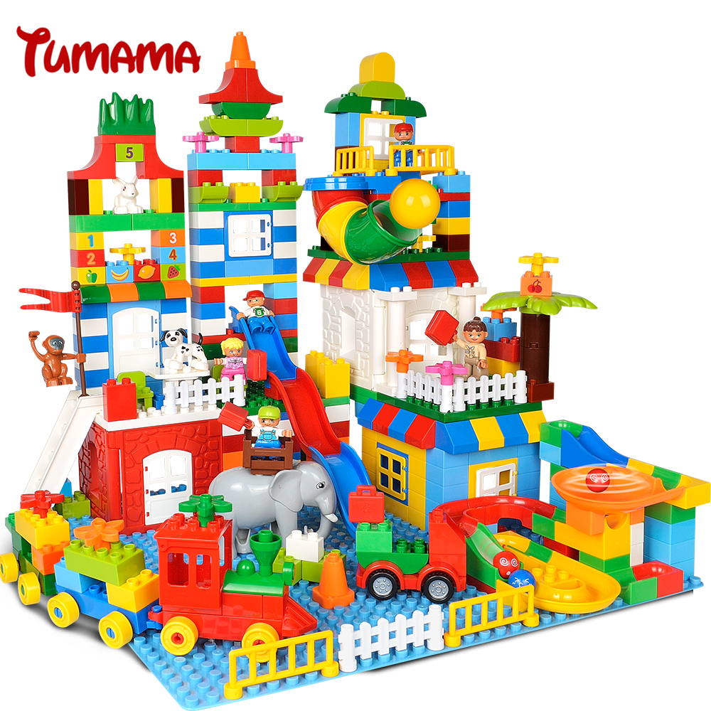 Tumama 225PCS Big Size Building Blocks Number Train Bricks Kids Gift Compatible with Legoed Duplo Educational Toys For Children цены онлайн
