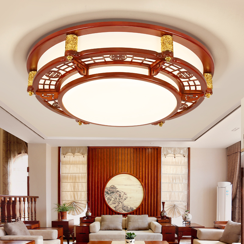 Chinese Living Room Lamps Rectangular led Ceiling Lamps Restaurants Hotels Solid Wood Ceiling Lights Teahouse Classical Lights