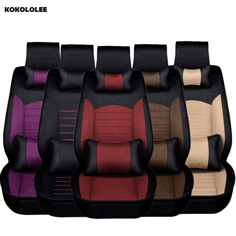 KOKOLOLEE flax Car Seat Cover set for Ford BMW Benz audi mini Lexus Subaru KIA Mazda Chrysler Automobiles Seat Cover Accessories