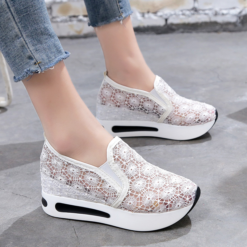 2018 Women Casual Platform Shoes Lace High Heels Shoes Woman Wedges Women Shoes Trainers Loafers Height Increasing de la chance 2018 women wedges sneakers shoes women high heels casual shoes female height increasing platform women canvas shoes