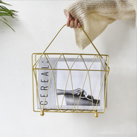Metal Gold Storage Basket Shelf With Handle Vogue Modern Nordic Iron Desk Magazine Newspaper Book Storage Basket Organizer