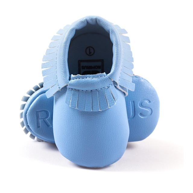 fdfa93c9edf Wholesale 30pairs lot Baby Boys Moccasin Leather Baby Shoes Toddler First  Walkers Soft Comfortable Light Blue Children s Shoe
