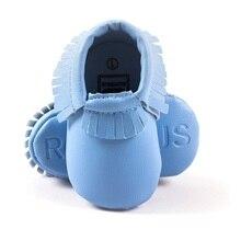 Оптовая 30 пар/лот Мальчиков Мокасины Кожаные Детская Обувь Малышей Первые Ходунки Мягкие Удобные Голубые детская Обувь