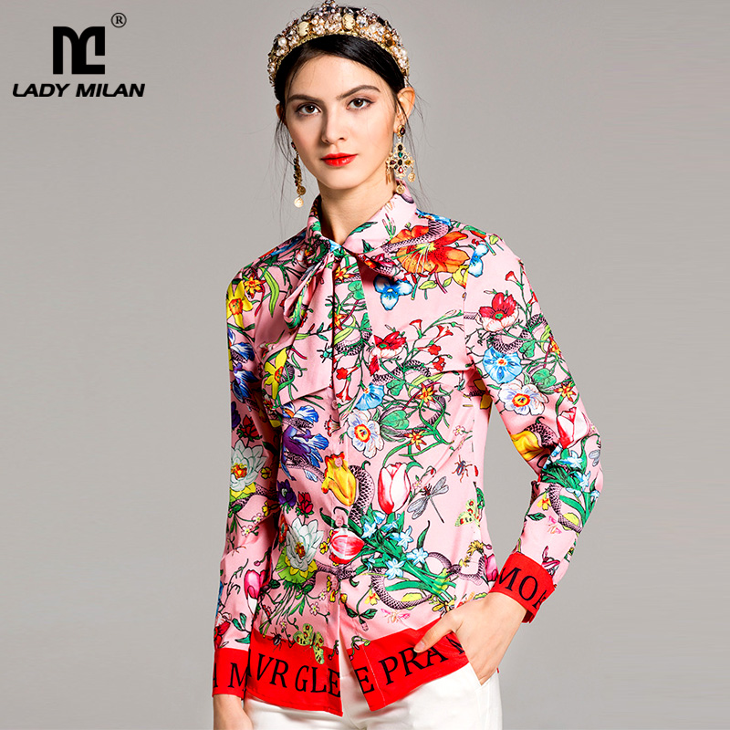 New Arrival 2018 Womens Peter Pan Collar Long Sleeves Printed Sash Bow Floral Fashion Designer Runway Shirts