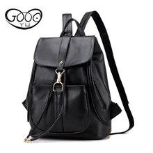 GOOG. Ю. Кожаные сумки женщин Сладкий моды пряжки насосных с личи шаблон мешок плеча колледж ветер рюкзак женщины едут мешок