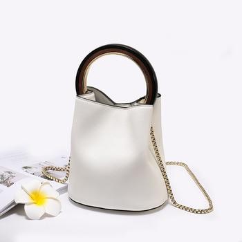 Genuine leather women fashion handbag small size ladies handbag chain shoulder bag crossbody round metal handle