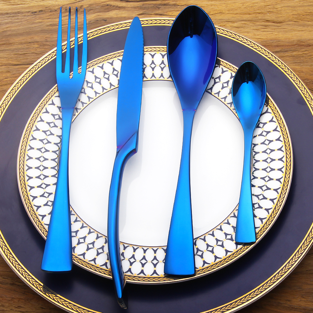4 PCS/SET Stainless <font><b>Steel</b></font> Cutlery Set Blue Dinnerware Gifts Mirror Polishing Silverware Sets Dinner Scoop Knife and Fork Set