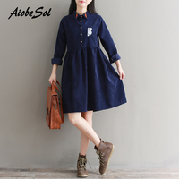 Spring Autumn Women Clothing Preppy Vintage Long Sleeve Cartoon Rabbit Embroidery Plus Size Corduroy Dress Japan