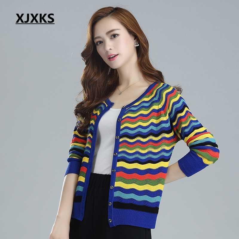 Xjxks Для женщин Кондиционер рубашка полый тонкий свитер короткий кардиган солнцезащитный крем куртка Цвет волны женские Свитеры для женщин