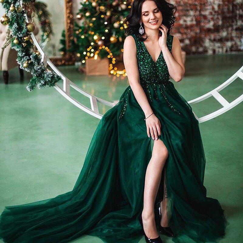 LORIE Prom Dresses 2019 Vestidos De Graduacion Deep V Neck Sexy - Särskilda tillfällen klänningar - Foto 2