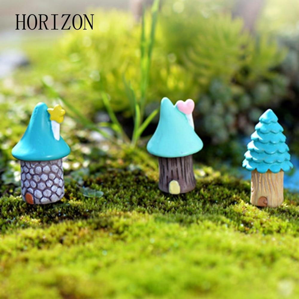 Fairy lawn ornaments - 3pcs Vintage Tree House Miniature Figurines Fairy Garden Ornaments Mini Craft Micro Landscaping Decor Home Decoration