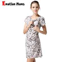 Emotion Moms Flower Nursing Dress Breastfeeding Dresses for Pregnant Women Short Sleeve Summer Maternity Clothing