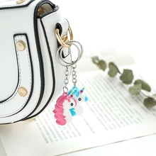 Cartoon Unicorn Head Key Ring