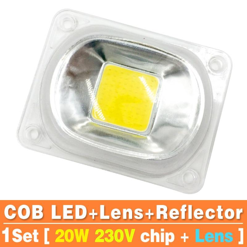 1set LED COB Chip with Lens Reflector 50W 30W 20W 230V 110V Smart IC DIY For LED Floodlight Soptlight Need Heatsink for Cooling