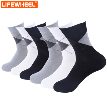 LifeWheel men Socks Business Bamboo Fiber Antibacterial Breathable Mid Length Crew Casual Socks 6 Pairs/Lot фото