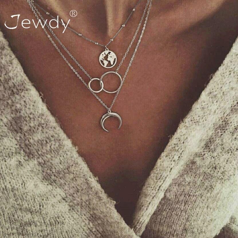 3 pièces/ensemble mode lune cercle carte pendentif Collier pour femmes Bijoux terre tour de cou multicouche Bijoux Collares Mujer Collier Femme