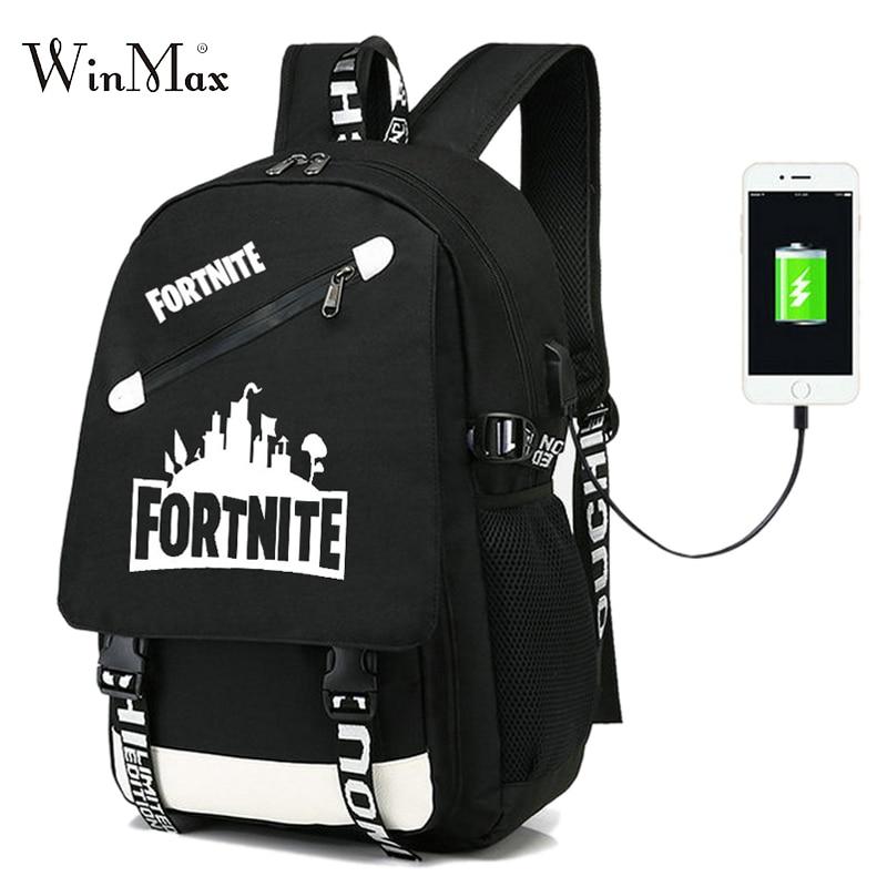 Fortnite Battle Royale 2018 Men Laptop Backpack USB Charging Backpacks For Teenager School Bag Travel Bagpack Sac A Dos Mochila hot high quality usb charge anti theft backpack men 15inch laptop backpacks fashion travel school bags bagpack sac a dos mochila