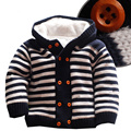18M-4T girls boys coats and jackets 2016 autumn winter Korean boys stripe hooded coat thick sweater warmer kids winter coat girl
