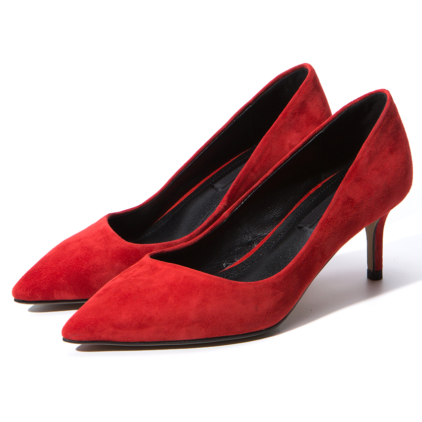 Arden Furtado fashion 2019 spring med heel red grey nude office lady pumps pink dress shoes woman high heels stilettos 33 40 new-in Women's Pumps from Shoes    2