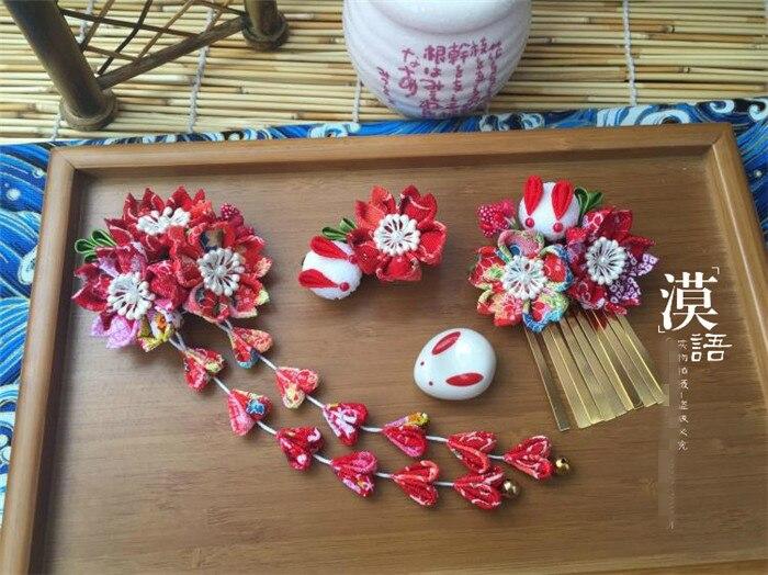 hand made hairpin cotton cloth hair clip barrettes Japanese kimono anime cosplay accessories sakura bunny red