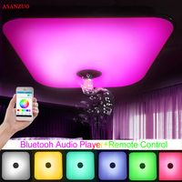 24W Modern Music Ceiling Light Bluetooth Speaker Led Light Remote Control Dimmable RGB LED Acrylic Square Ceiling Lamp