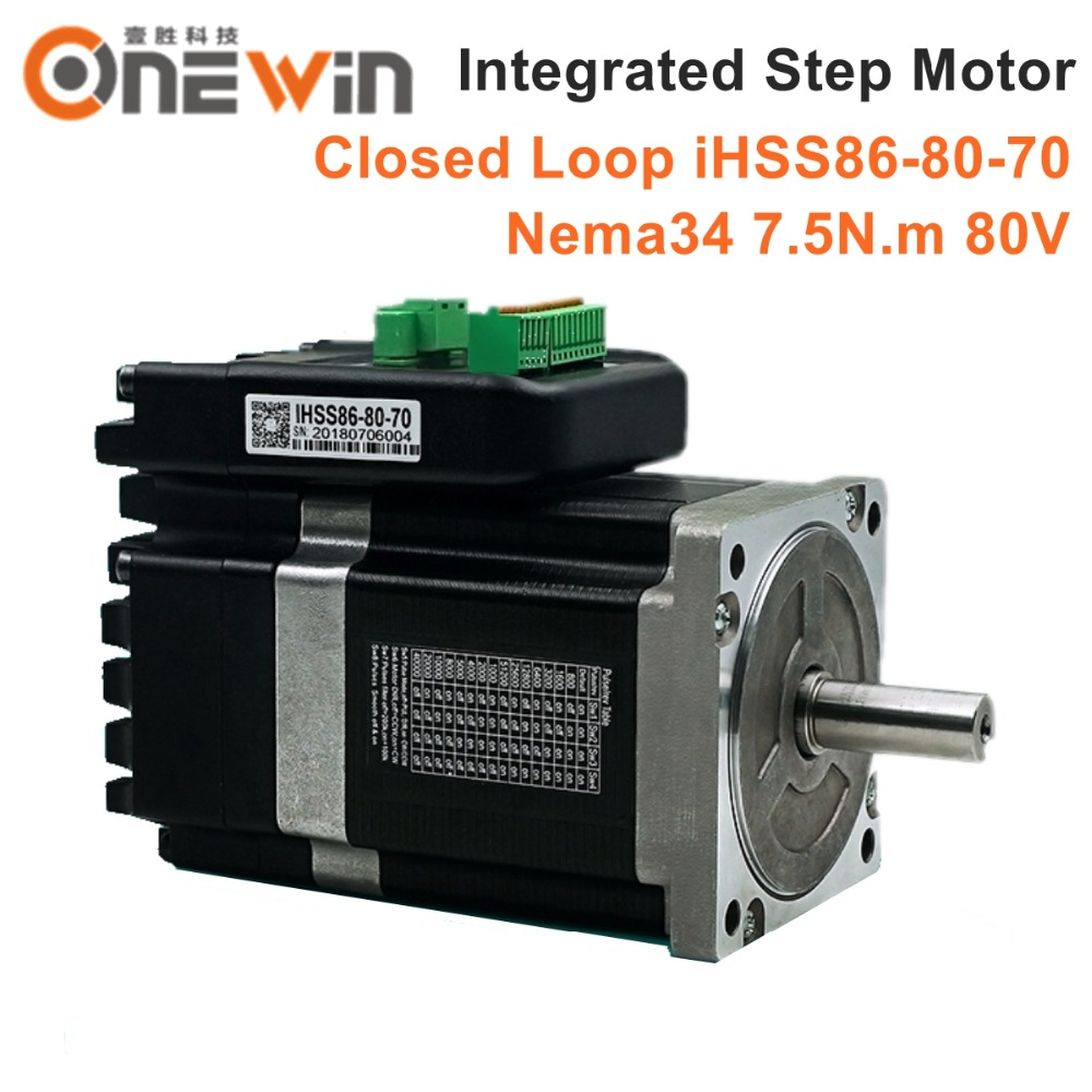 NEMA34 Integrated Closed Loop Stepper Motor 80V 7 5Nm 2 phase iHSS86 80 70 Hybrid stepper