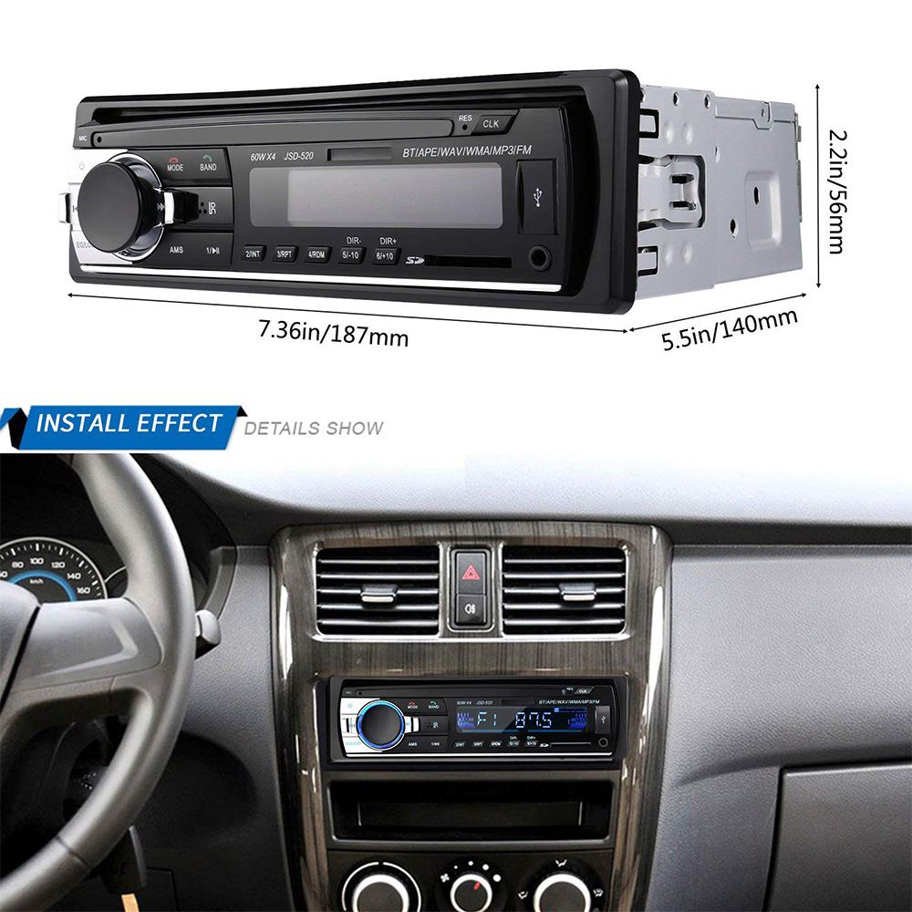 1PC Autoradio Bluetooth 1 din Car Audio Multimedia MP3 Player Receiver For Pioneer Auto Electronics Subwoofer In-Dash USB SD AUX image