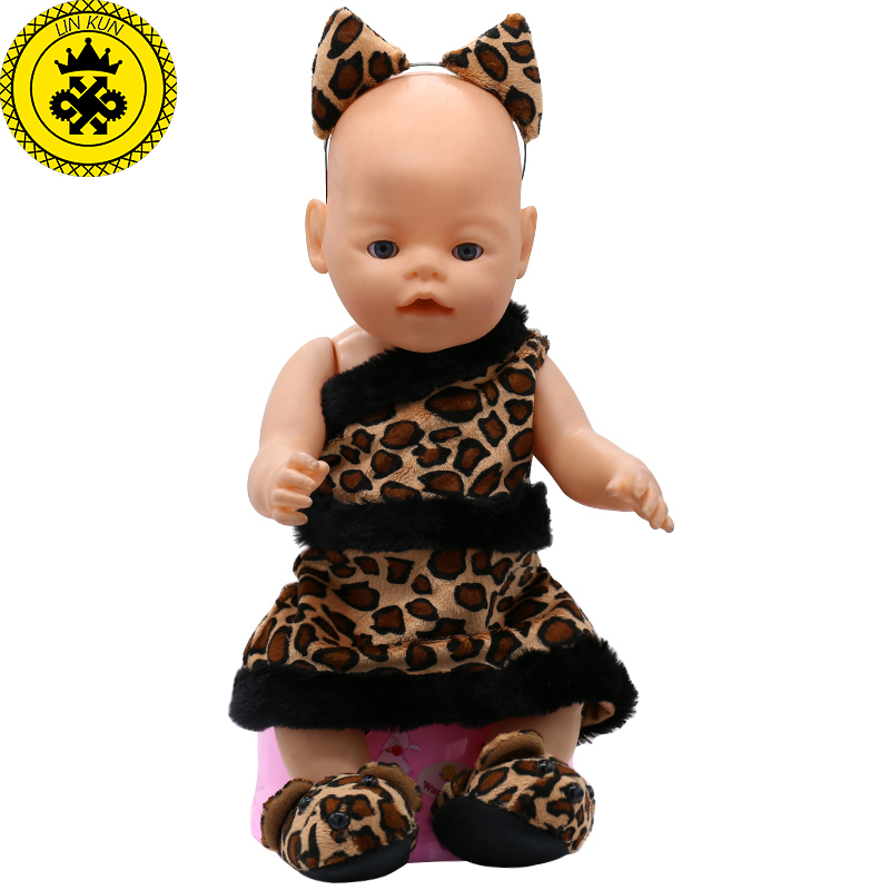 Baby Born Doll Clothes Ears and Tail Tiger Leopard Doll Clothes + Shoes Up Sets Doll Accessories Children Birthday Gifts T3