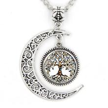 imixlot New Vintage Life Tree Moon Pendant Necklace Punk Silver Crescent Chain Necklaces for Women Jewelry Gift