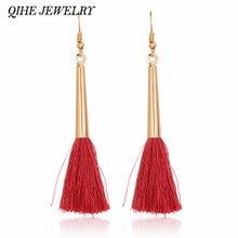 Qihe ювелирные изделия серьги в виде капель с красочные шелковой