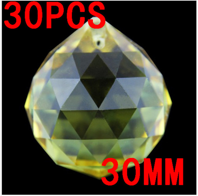 Party Drop Balls Yellow 30pcs 30mm 1 Hole Glass Crystal Prism Chandelier Balls For Christmas Wedding Party Decoration