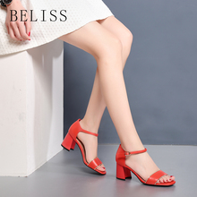 BELISS ankle wrap women gladiator sandals chunky heel women summer shoes and sandals sexy fashion female casual shoes buckle S6 vintage women s sandals with solid color and chunky heel design