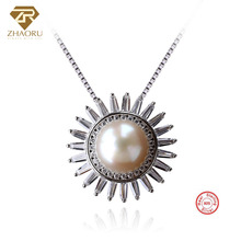ZHAORU 925 Sterling Silver Pendant Natual Freshwater Pearl Pendant for Necklace Cubic Zircon Pendant Fashion Jewelry Women Gift 3 4mm long fresh water pearl necklace multi layers 925 sterling silver with cubic zircon flower party necklace fashion jewelry