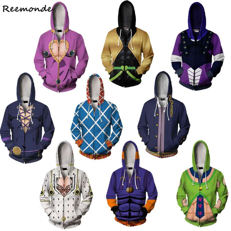 Anime Jojo Bizarre Adventure Hoodie Sweatshirt Kira Yoshikage Cosplay Costume Joestar Kujo Jotaro Hooded Sweater Shirt Men Boys