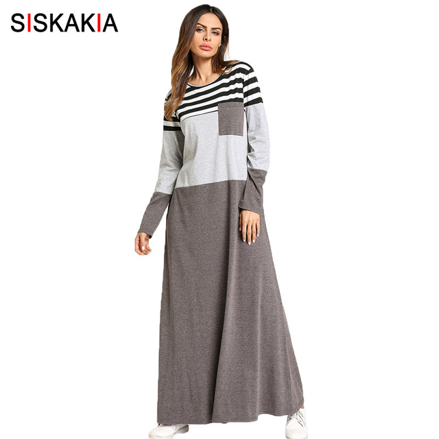 Siskakia Pocket Patch stripes Color block maxi dresses Female spring 2018 long sleeve T shirt dress Muslim women home wear dress