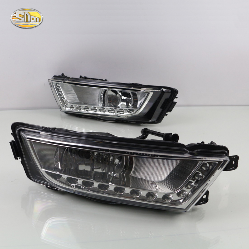 SNCN LED Daytime Running Lights for Skoda Octavia A7 2014 2015 2016 Fog lamp house 12V ABS DRL with Turn Signal Light sncn led drl for skoda octavia a5 2011 2012 2013 daytime running light with fog lamp house accessories