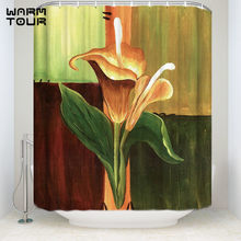 Bath Shower Curtains 48 X 72 Inches Home Decorative Oil Painting Calla Lily Flower Mildew Resistant Bathroom Decor Sets