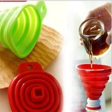 Пищевые для кухни силиконовые складные телескопические шеи Воронка жидкость заполняющая Воронка жидкость эфирное масло наполнение пустая бутылка