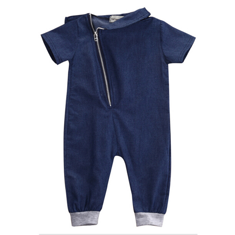 Denim Baby Boy Romper Newborn Toddler Baby Boys Zipper Rompers Jumpsuit Playsuit Outfits Clothes Halloween Gift