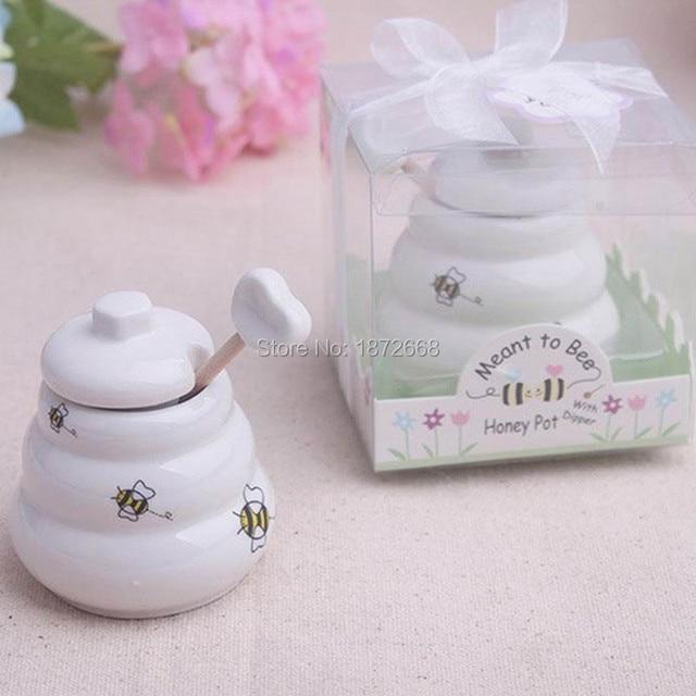 Keramik Bee Honig Glas Topf Hochzeitsbevorzugungen Baby Shower Favors 100 Stucke Freies DHL