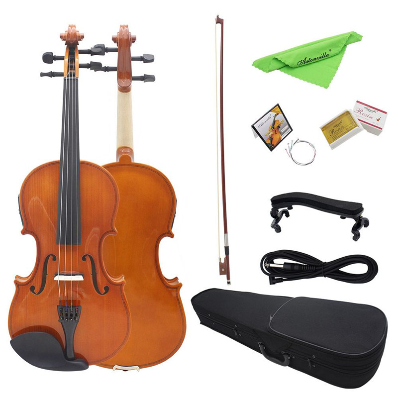 AV E03 4/4 Full Size Electro Acoustic EQ Violin Fiddle Kit Solid Matte Finish Spruce Face Board 4 String With Case Rosin Cable