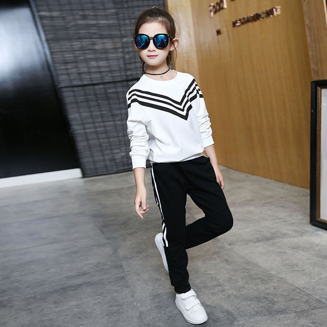 Kids Long Sleeve Striped Sports Clothing Set Girls Casual Pullover+Pants 2PCS Outfit Teenagers Autumn Spring Tracksuit AA11776