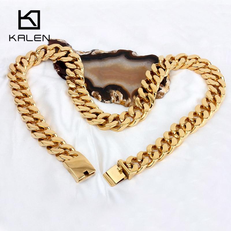 Kalen 70cm Lange Cubaanse Collier Rvs Dubai Goud Kleur 440g Zware Chunky Ketting Mannen's Accessoires - 3