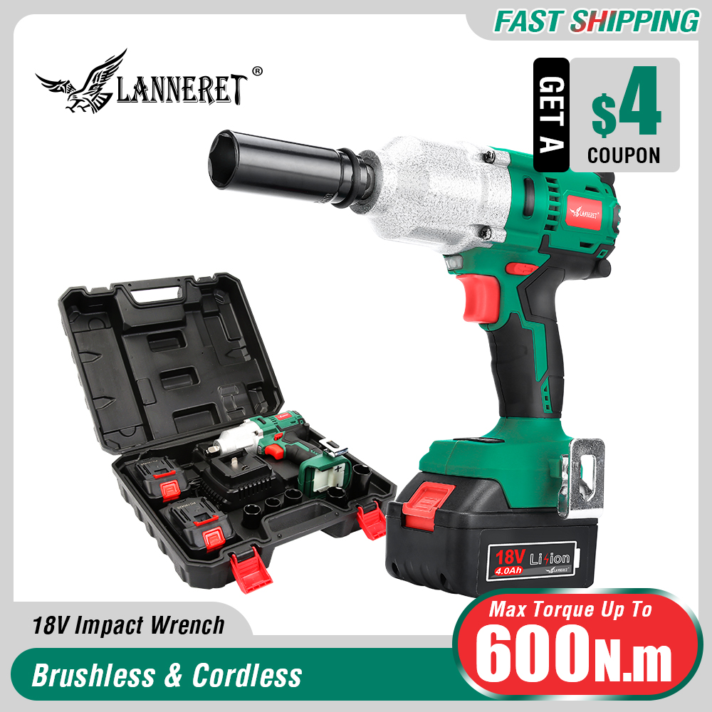 LANNERET 18V Brushless Cordless Impact Electric Wrench 300 600N m Torque Household Car SUV Wheel 1