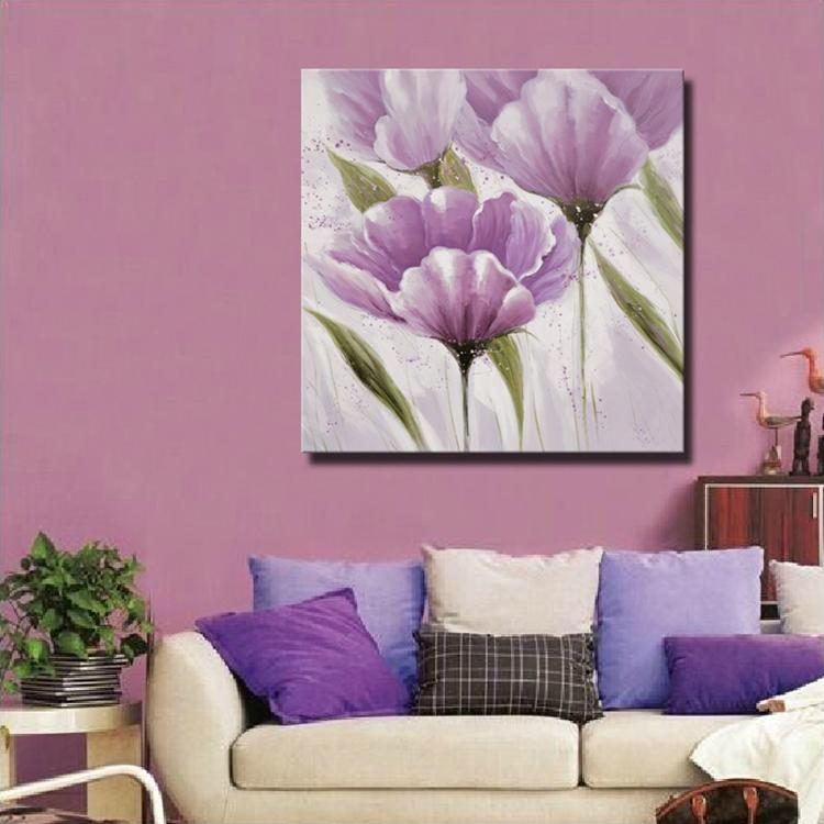 Beautiful Modern Simple Abstract Purple Flower Oil Painting Wall ...
