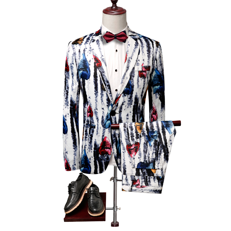Men 39 s Trail Blazers Suits Men 39 s Fashion Casual Boutique Animal Patterns Suits Two piece 2019 Autumn New Men 39 s Printed Suits in Suits from Men 39 s Clothing
